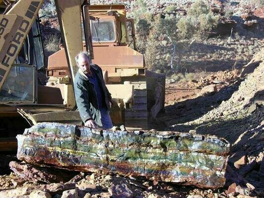 Large block of Tiger's Eye found during mining near Mt. Brockman.  Photo from Outback Mining